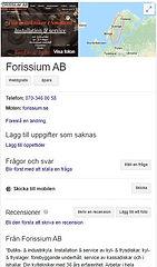 Bild på Google My Business för Forissium AB.