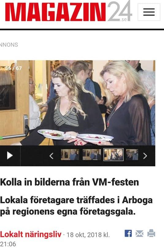 Artikelbild från tidningen Magazin24. Till vänster på bilden: Caroline Haglund som var en av de nominerade som årets Klöver Dam, med sitt företag Carolinesbeautyspa.