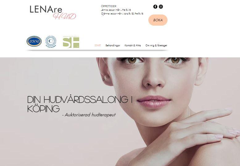 Startsidan på hemsidan www.lenarehud.se
