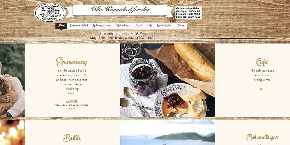 Startsidan www.villawingarhed.se