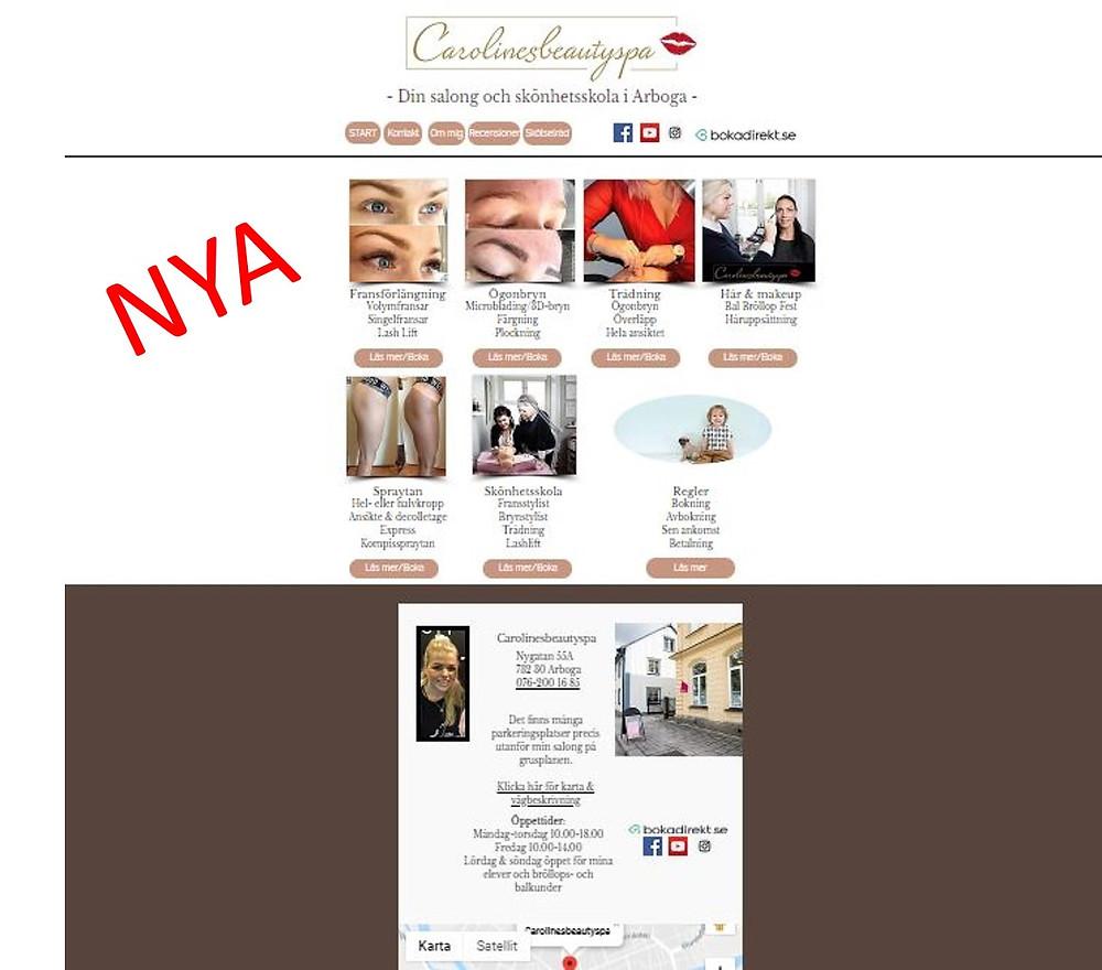 Det NYA utseende på hemsidan, datorversion och mobilversion