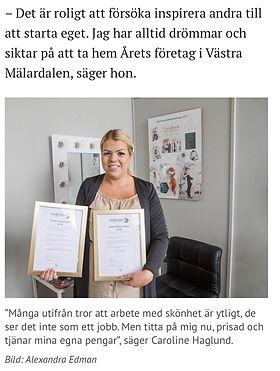 Tidningsartikel i Arboga Tidning, november 2019