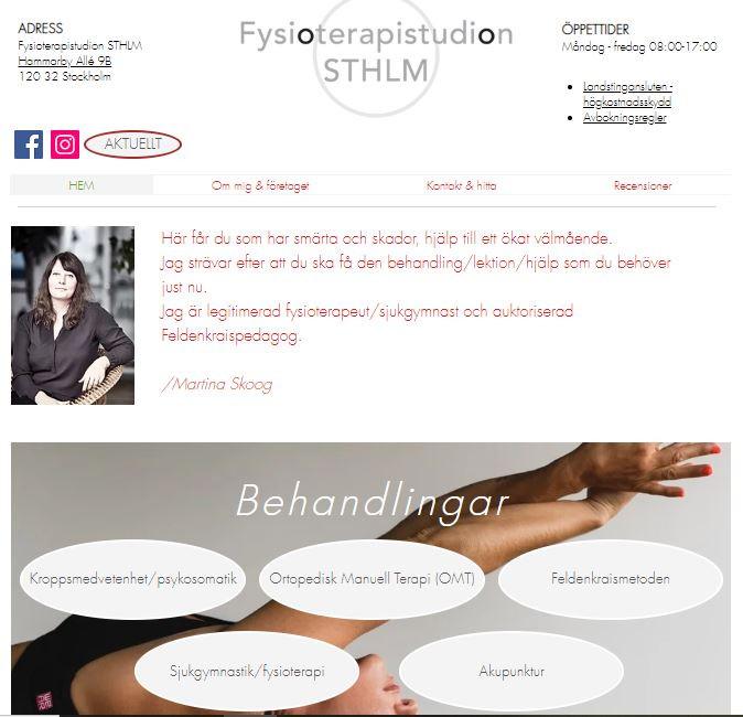 Startsidan på hemsidan, som den ser ut på en dator.