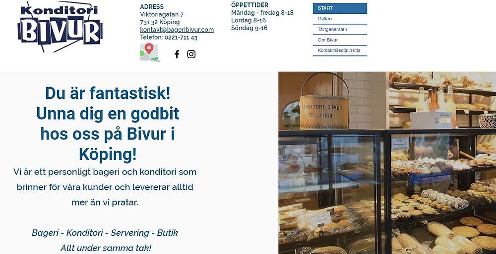 Startsidan på Konditori Bivurs hemsida