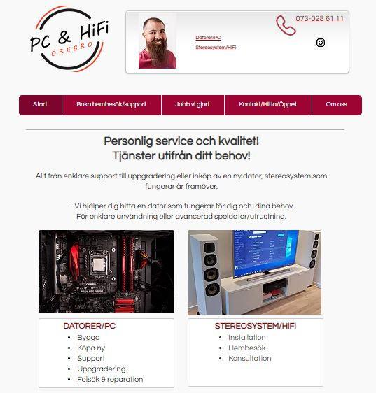 Startsidan www.pchifi.se