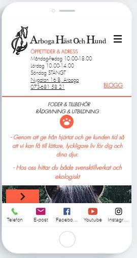 Startsidan på www.arbogahastochhund.se - mobilversion