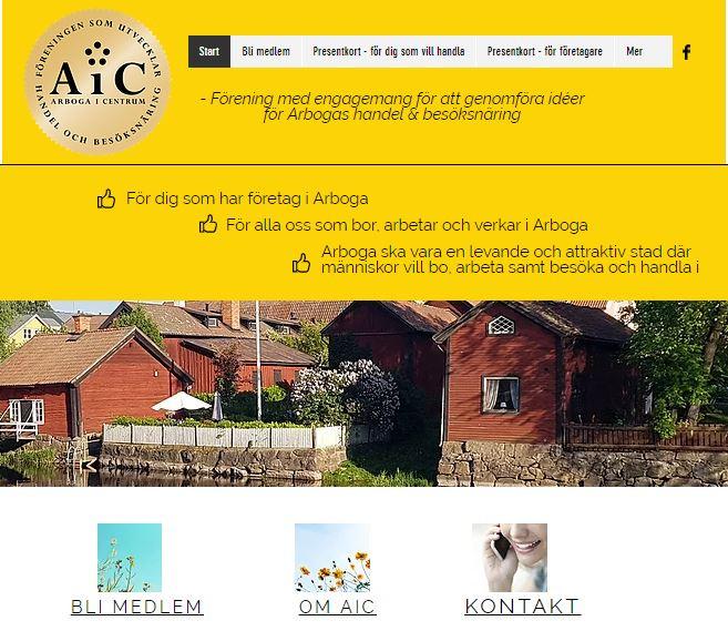 Arboga i Centrums hemsida www.aic.nu