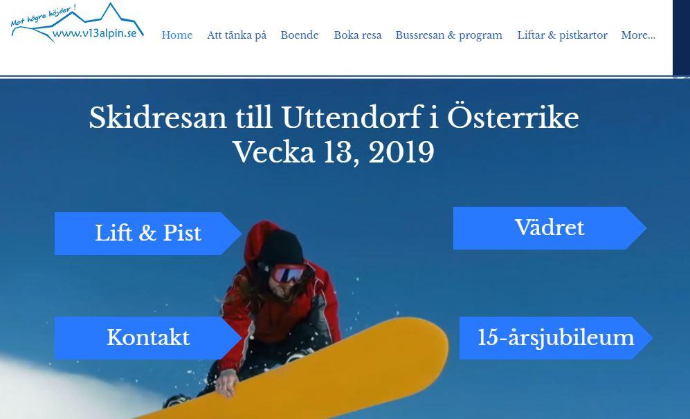 Skärmdump på startsidan www.v12alpin.com