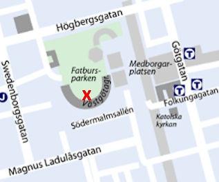 En karta där vägnamnen finns och ett rött kryss där Gravidfysio är belägen.