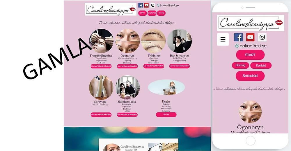 Det gamla/tidigare utseende på hemsidan, datorversion och mobilversion
