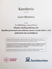 Kursbevis Hindra smittspridning. Lena Oikarinen.