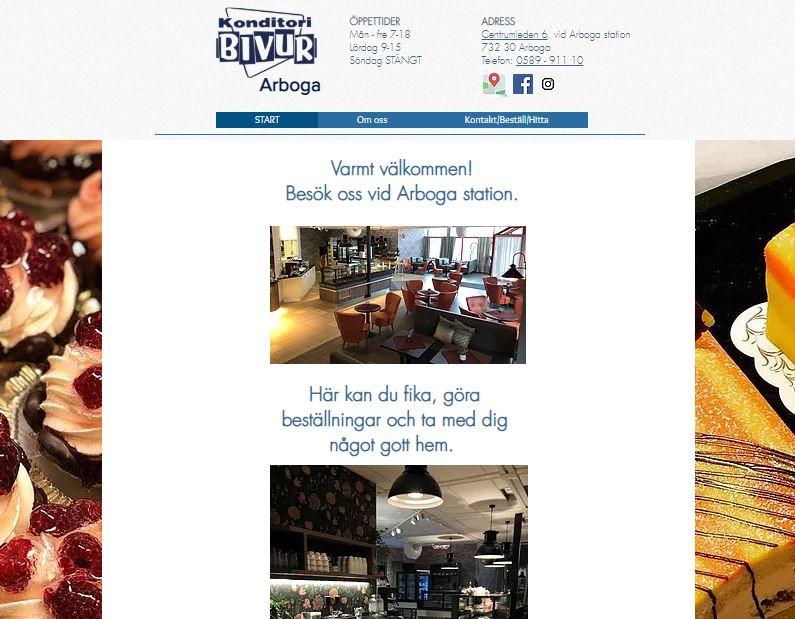 Startsidan på www.bivurarboga.se