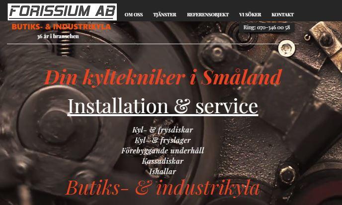 Startsidan på www.forissium.se