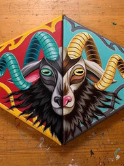 Ornate Goat Diptych