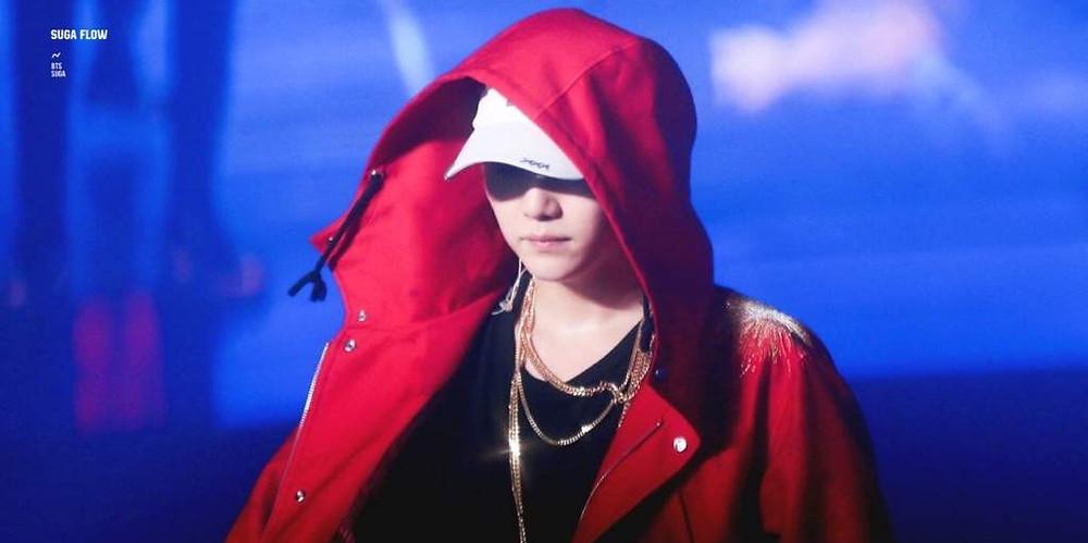 Kpop, K-pop, BTS, Bangtan, The K-pop Encyclopedia, Concert, Min Yoongi, Suga, Agust D, rap, rapping, rapper, hip hop, k-hiphop, Cypher pt.3, red jacket