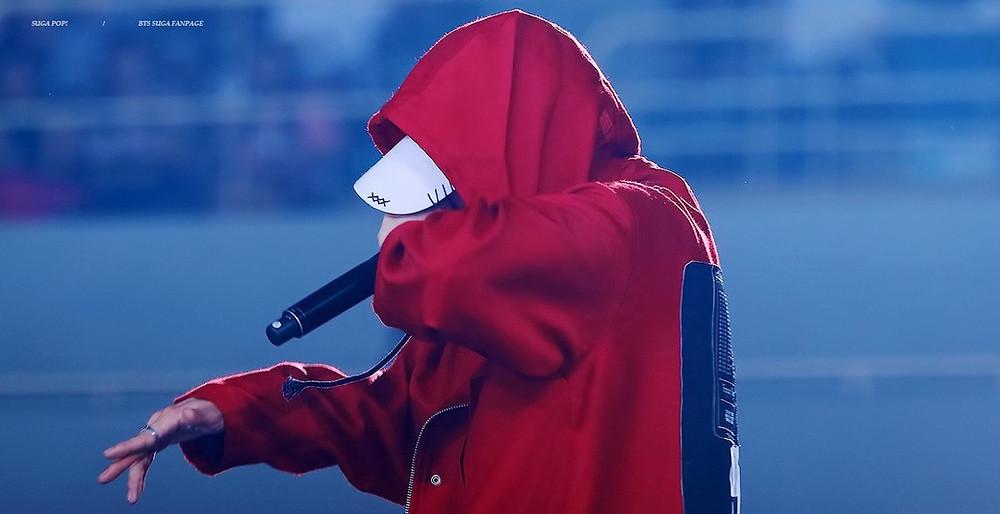 Kpop, K-pop, BTS, Bangtan, The K-pop Encyclopedia, Concert, Suga, Agust D, Red jacket, rapping, rapper, hip hop, k-hiphop