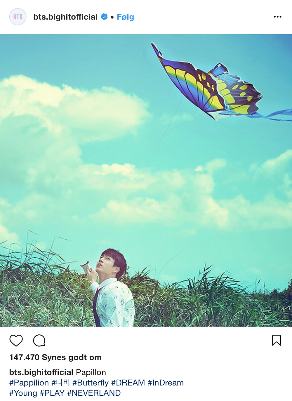 Bighit instagram hashtag HYYH The Most Beautiful Moment In Life Butterfly Neverland BTS Bangtan Jungkook JK flying kite