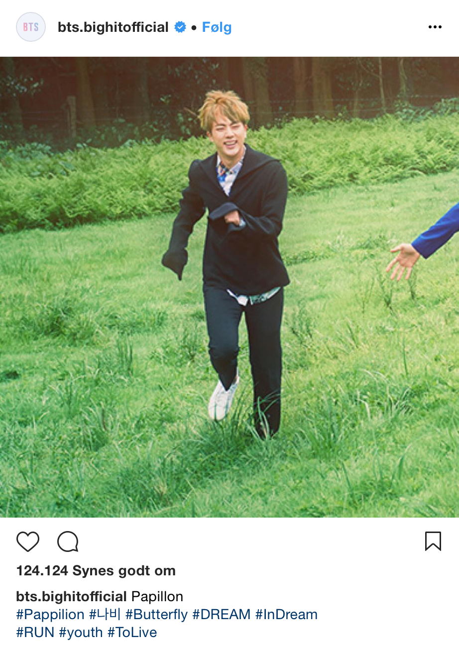Jin Seokjin Butterfly RUN HYYH BTS Bangtan theory bight instagram