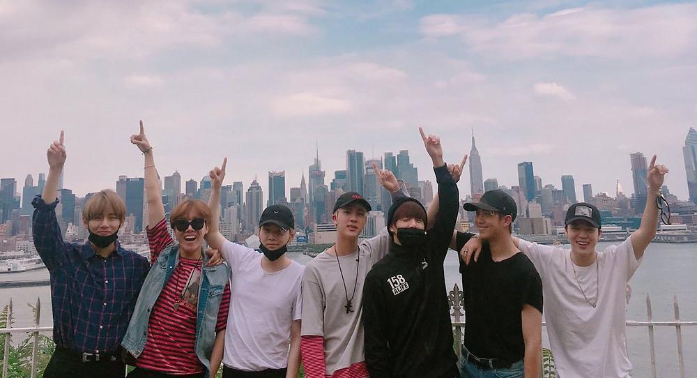 BTS Bangtan pointing too the sky
