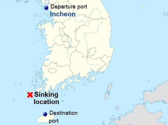 The Sewol Ferry Capsizing Incident Full Account map