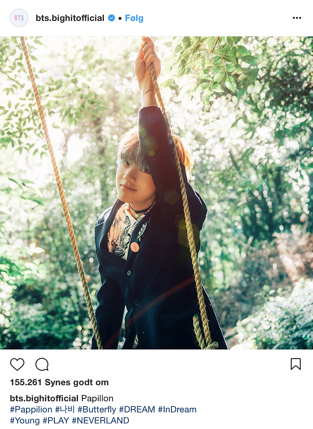 Bighit instagram hashtag HYYH The Most Beautiful Moment In Life Butterfly Neverland BTS Bangtan V Kim Taehyung in forest Peter Pan