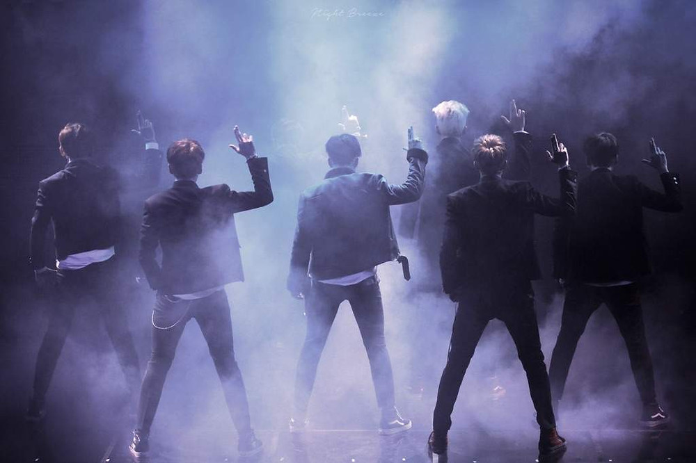 BTS Bangtan full group shot misty and smoky and cool looking during an iconic 7 member performance. Back in their NO Bulletproof and No More Dream days.