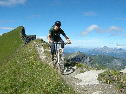 Wim riding the Mont Joly ridgeline