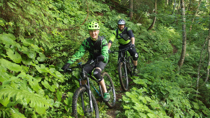 Riding Life clients enjoying the natural (secret) singletrack descents of the Beaufortain