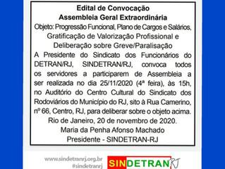 O Sindetran/RJ convoca os Servidores do Detran/RJ a participarem de Assembleia Geral Extraordinária