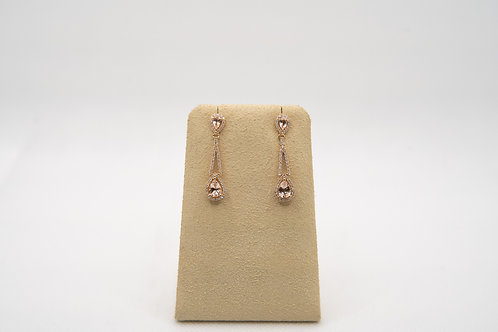 Morganite & Diamond Tear Drop Earrings