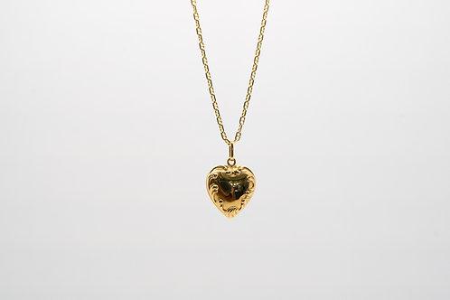 18K Victorian Style Puffed Heart Pendant