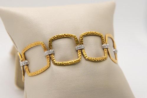18K Matte Finish Hammered Squares Bracelet