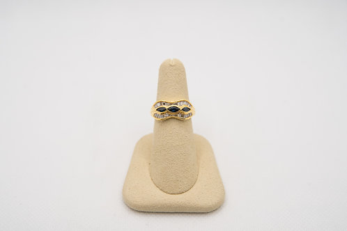 18K Yellow Gold Sapphire & Diamond Ring 0.45cts