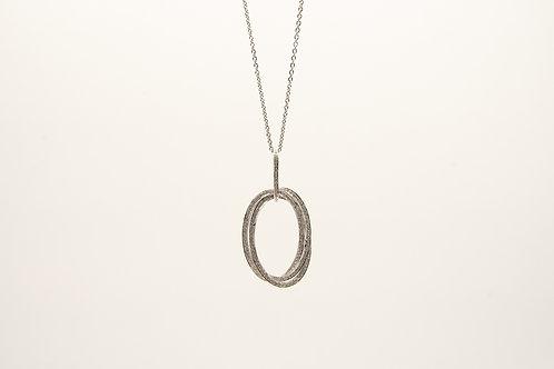 18K Interlocking Oval Diamond Pendant