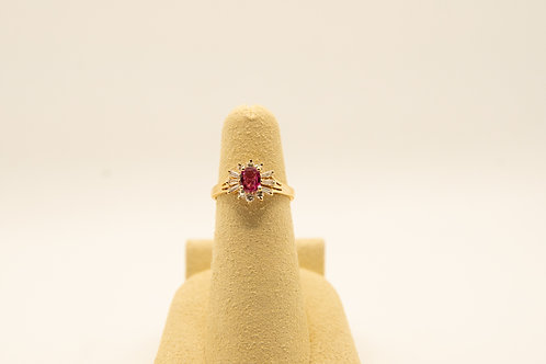 Vintage Oval Ruby & Diamond Ring