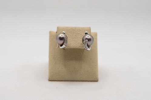 Black pearl & diamond earrings