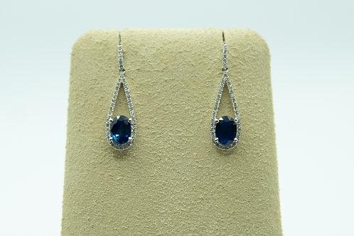 Oval Sapphire drop earrings with diamonds