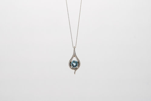 Aquamarine & Diamond Pendant 0.22cts