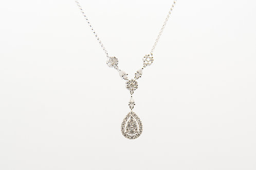14K White Gold Tear Drop Diamond Necklace