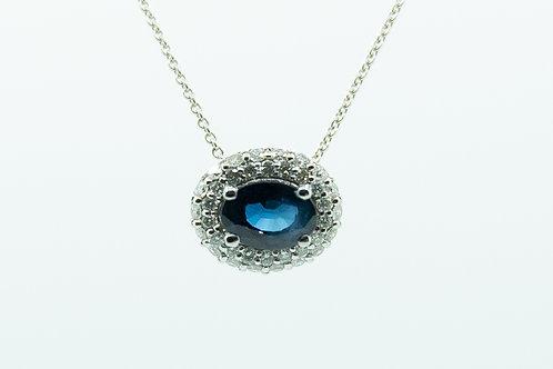 Sapphire Pendant with Diamond halo
