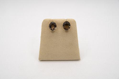 14K Oval Smoky Topaz Earrings