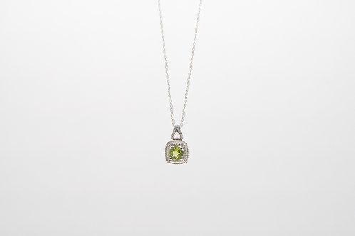 Peridot & Diamond Pendant 0.09cts