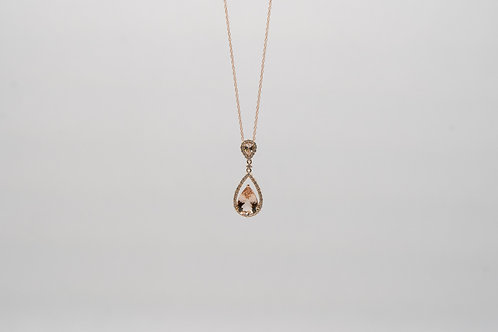 Morganite & Diamond Pendant 1.60cts