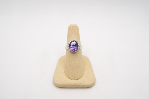 Oval Amethyst & White Sapphire Ring