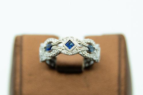 Vintage Sapphire & Diamond Band