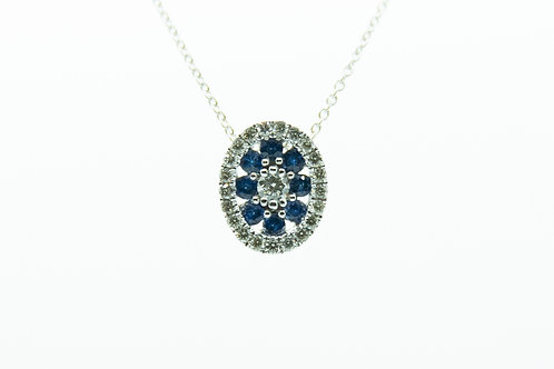 Sapphire & Diamond Oval Pendant