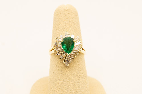 Emerald Pear shaped & Diamond Ring