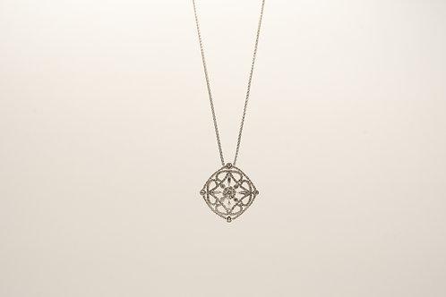 Square Filigree Diamond Pendant