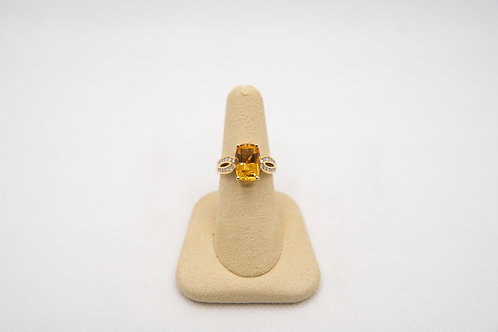 Cushion Cut Citrine & diamond ring