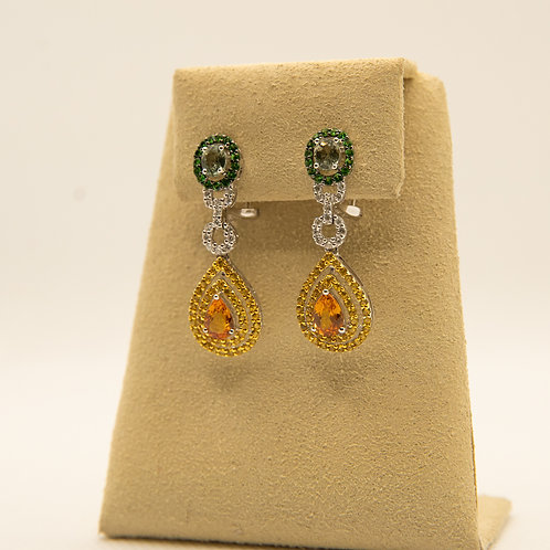 Colorful Sapphire Earrings with Diamonds